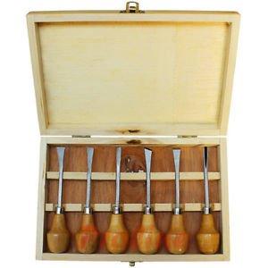 6pc 5-14 Wood Carving Chisel Set Wooden Ball Handle Woodcut Gunsmithing