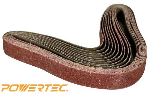 POWERTEC 111360 1-Inch x 30-Inch 320 Grit Aluminum Oxide Sanding Belt 10-Pack