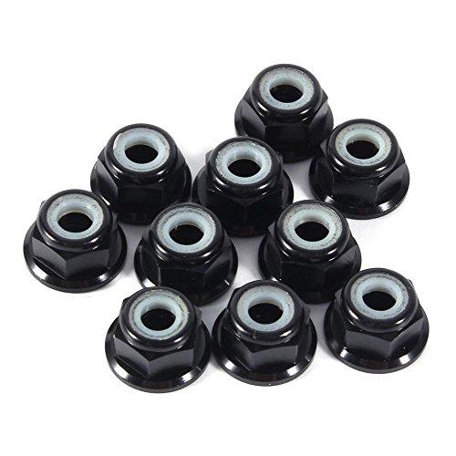 Hex Self-Lock Nuts 10 PCS M4 Nut CNC Aluminum Flanged Nylon Lock Nut Self-Locking Metal Nuts Black