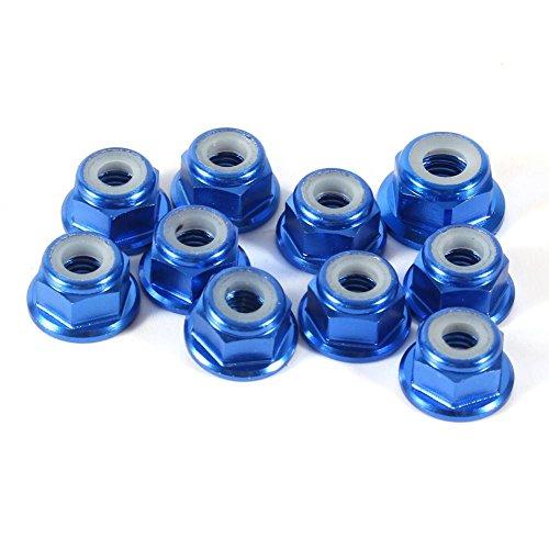 Hex Self-Lock Nuts 10 PCS M4 Nut CNC Aluminum Flanged Nylon Lock Nut Self-Locking Metal Nuts Royal Blue