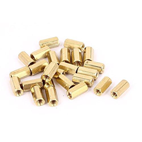 M4 x 12mm Female Threaded Brass Hex Standoff Pillar Spacer Nut 25pcs