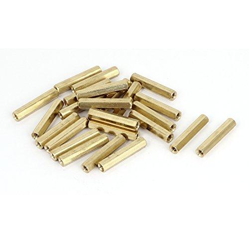 M4 x 30mm Female Threaded Brass Hex Standoff Pillar Spacer Nut 25pcs