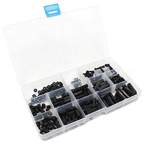 Xcellent Global 260pcs M3 Nylon Screws Hex Spacers Nuts Plastic Assortment Kit Black PC030