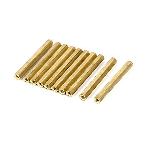 uxcell M3 x 40mm Female Threaded Brass Hex Standoff Pillar Spacer Nut 10pcs