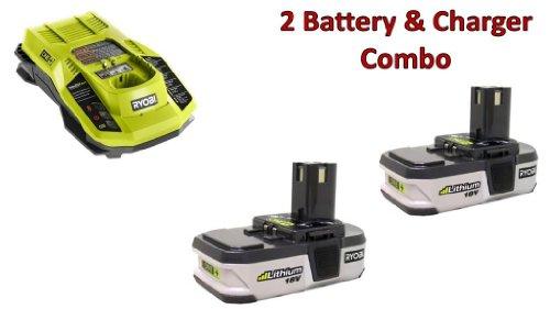 Ryobi 2 Pack P103 18v Pod Style Li-Ion Batteries 1 P117 18v Charger Combo  130429008-2BC-140173004