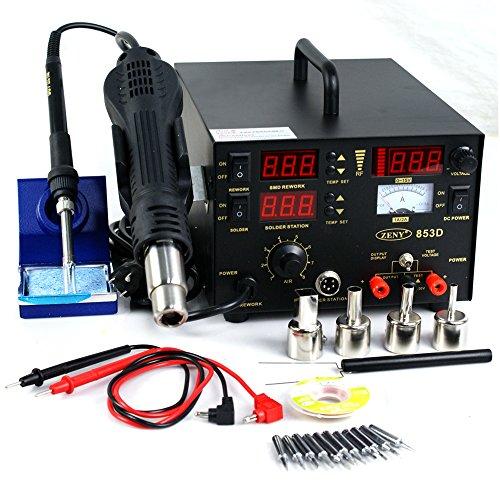 Zeny3in1 SMD DC Power Supply Hot Air Iron Gun Rework Soldering Station Welder 853D
