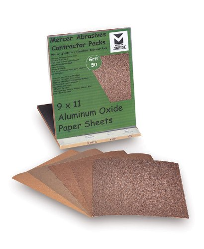 Mercer Abrasives 230050-25 9-Inch by 11-Inch Aluminum Oxide Paper Sheets Contractor Packs 50D Grit 25-Pack