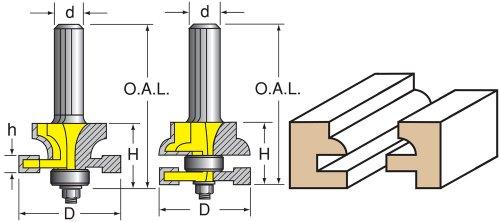 Woodtek 110144 Router Bits Door Construction Stile Rail - Cabinet Stile Rail Set Quarter Round Detail 12 Shank