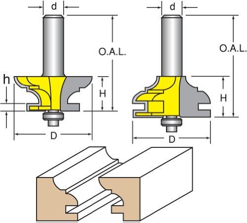Woodtek 821047 Router Bits Door Construction Stile Rail - Cabinet Rail Stile Set Cove Bead Detail 12 Shank
