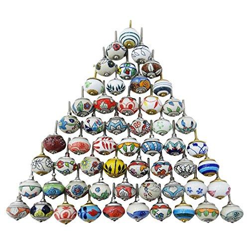 Artncraft Assorted Multicolor Ceramic Drawers Knobs Door Cupboard Pulls Indian Mix Knobs