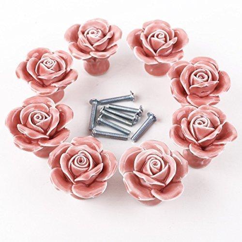 happyliya8pcs Ceramic Vintage Floral Rose Pull Handles Cabinet Door Cupboard Drawer Knobs Pink