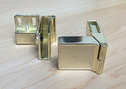 Inset Side-Mount Glass Door Hinge in Polished Brass