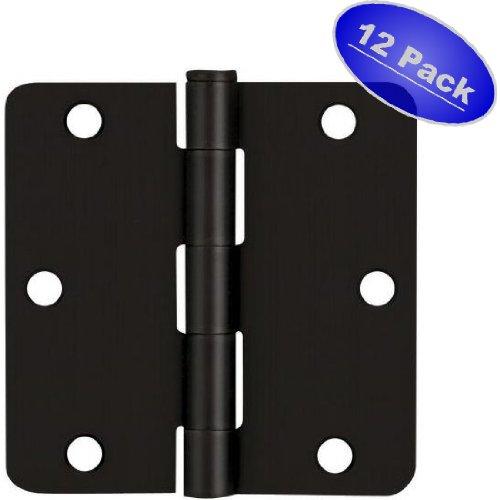 Cosmas Flat Black Door Hinge 35 Inch x 35 Inch with 14 Inch Radius Corners - 12 Pack