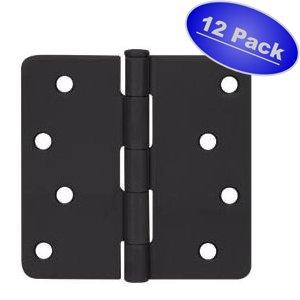 Cosmas Flat Black Door Hinge 4 Inch x 4 Inch with 14 Inch Radius Corners - 12 Pack