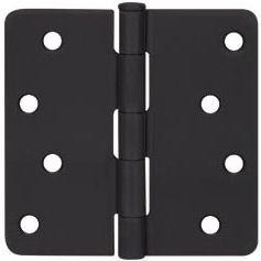 Cosmas Flat Black Door Hinge 4 Inch x 4 Inch with 14 Inch Radius Corners