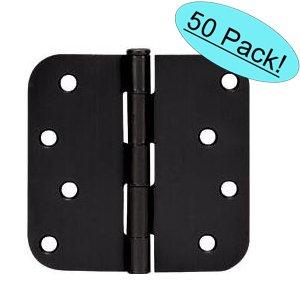 Cosmas Flat Black Door Hinge 4 Inch x 4 Inch with 58 Inch Radius Corners - 50 Pack