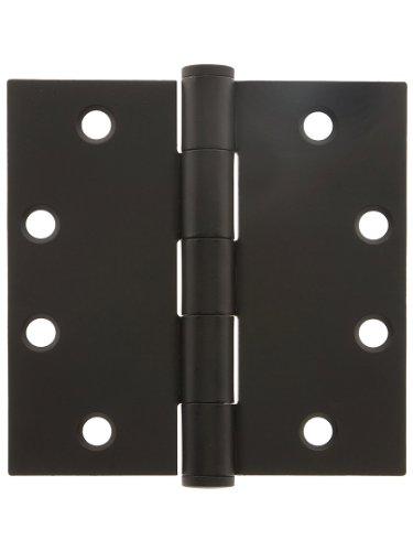4 12 Heavy Duty Plated Steel Door Hinge With Button Tips In Matte Black Door Hinges