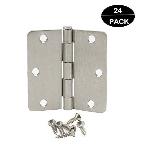 24 Pack Probrico Door Hinges Satin Nickel - 3 ½ x 3 ½ Inch Door Hinges with 14 Radius Corners Stainless Steel Heavy Duty Hinges for Interior Doors