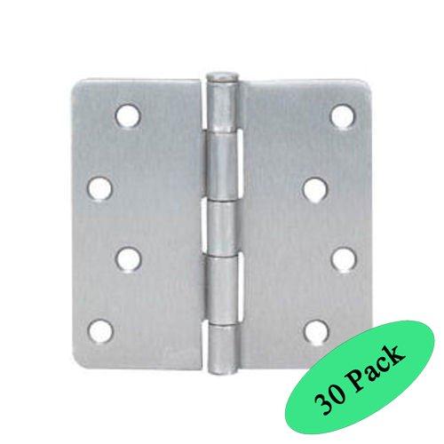 Cosmas Satin Nickel Door Hinge 4 Inch x 4 Inch with 14 Inch Radius Corners - 30 Pack