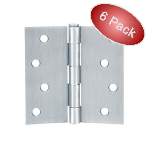 Cosmas Satin Nickel Door Hinge 4 Inch x 4 Inch with Square Corners - 6 Pack