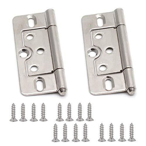 LICTOP 2 Pack 3 Inch Non-Mortise Door Hinge Metal Furniture Hardware Cabinet Door Butt Hinges