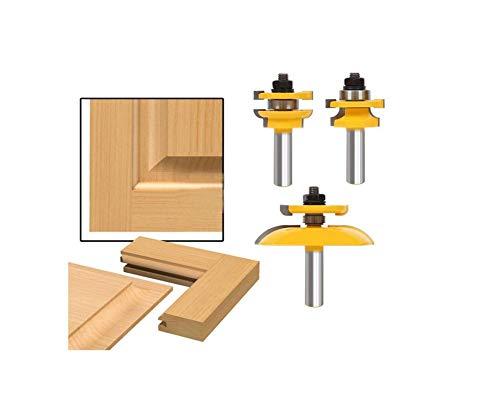 3 Pcs 12 Shank Rail Stile Blade Cutter Panel Cabinet Router Bits Set Milling cutter Power Tools Door knife Wood Cutter