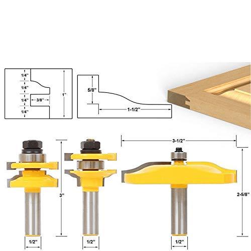 BNYZWOT 12 Shank Rail Stile Ogee Blade Cutter Panel Cabinet Router Bits Set Milling cutter Power Tools Door knife Wood Cutter 3Pcs
