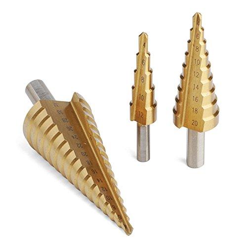 BAYMÂ 3pcsLot HSS Metric Straight Flute Step Drill Bit Set 4241 Steel Titanium Coated Step Drill Bit Set 4-122032mm Hexagonal shank