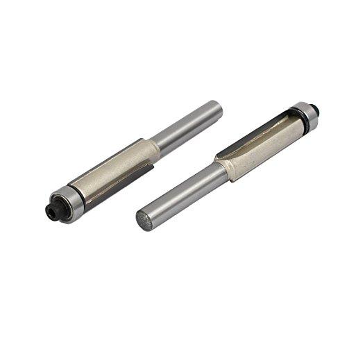 uxcell 14-inch Shank Diameter 38-inch Cutting Dia Double Flute Bearing Flush Trim Bits 2pcs