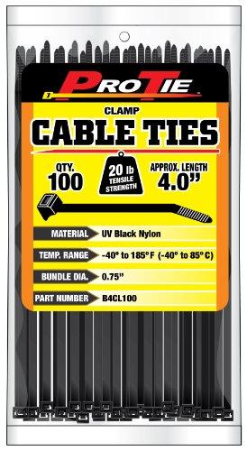 Pro Tie B4CL100 4-Inch Clamp Cable Tie UV Black Nylon 100-Pack