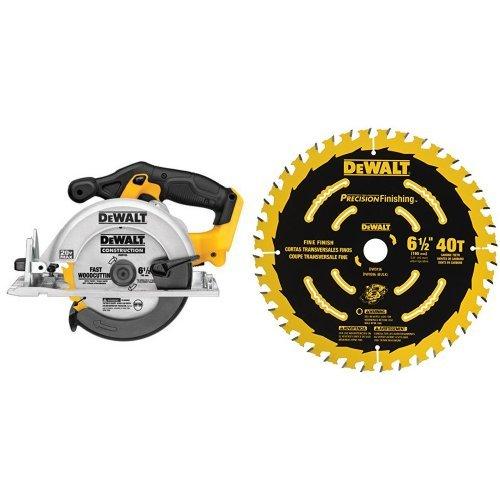 DEWALT DCS391B 20-Volt MAX Li-Ion Circular Saw Tool Only with 6-12-Inch 40T Precision Framing Saw Blade