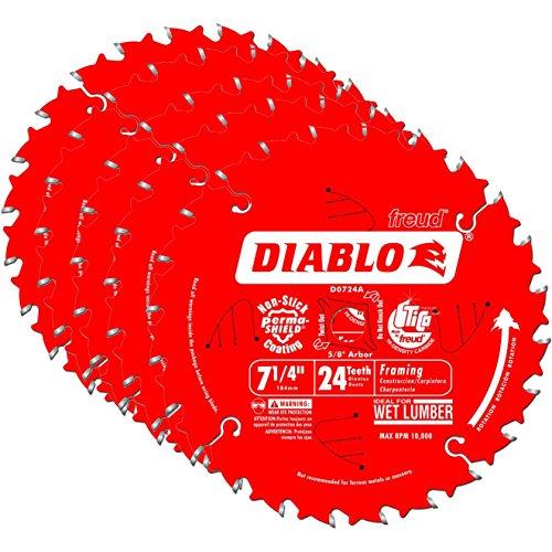 Freud D0724A Diablo 7-14-inch 24T ATB Thin Kerf Framing Saw Blades 5-Pack
