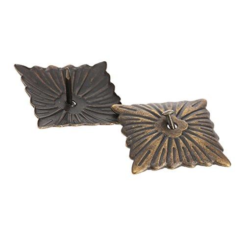 Dophee 100Pcs Square Vintage Bronze Upholstery Nails Studs Furniture Decorative Tacks