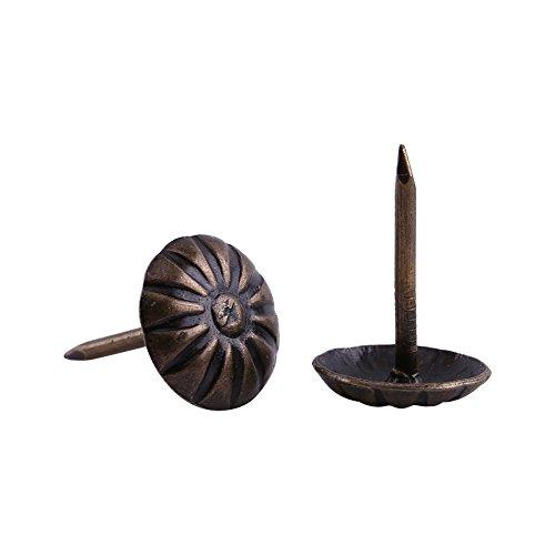 Upholstery Nail Tack Stud 100Pcs Metal Antique Chrysanthemum Nails Upholstery Nails Tacks Strips Clavos Decorative Tack Pushpins Doornail for Wood Furniture Decor Daisy Nailhead 10x14mm