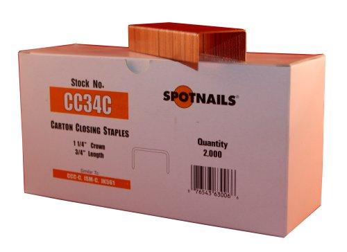 Spot Nails CC34C 1-14-Inch Crown 34-Inch Leg Carton Closing Staple Quantity 2000