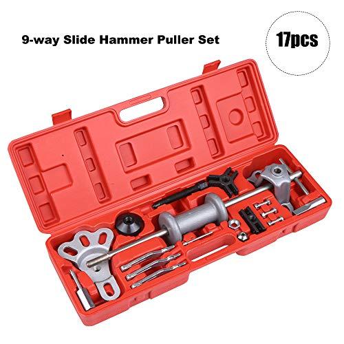 KKmoon 17pcs 9-Way Slide Hammer Puller Set Front Wheel Hub Bearing Remover Rear Wheel Axle Shaft Puller Tool Kit