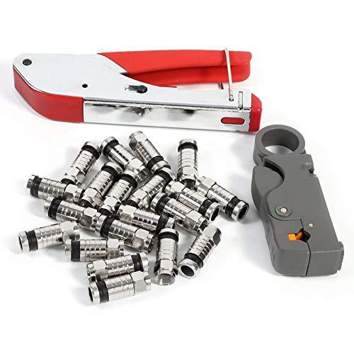 Compression Tool for RG59 RG6 BNC RCA Connector Coax Crimper Adjustable F Type