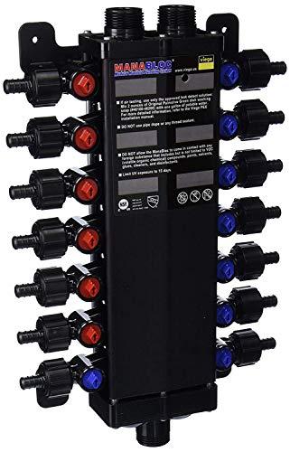 Viega 50143 - 12-Inch PureFlow Zero Lead Poly Alloy PEX Crimp Manabloc With 14 Ports - 8 Cold 6 Hot