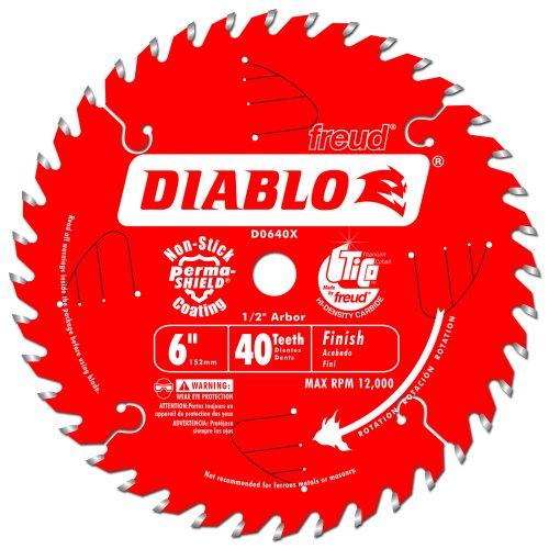 Freud D0640X Diablo 6-Inch 40 Tooth ATB Trim Saw Blade with 12-Inch Arbor