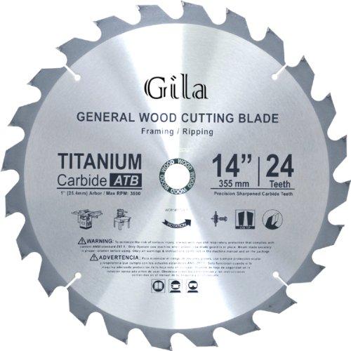 GilaTools 14-inch 24 Teeth ATB Framing Carbide Saw Blade