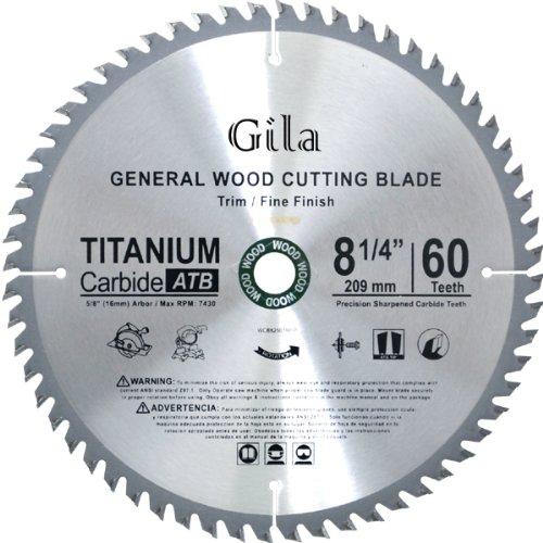 GilaTools 8-14-Inch 60 Teeth ATB Trim and Fine Finish Carbide Saw Blade