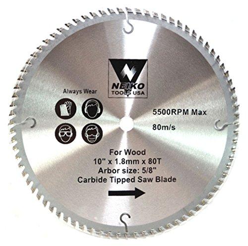 Neiko Tools USA 10 x 80 Tooth Carbide Tipped Saw Blade