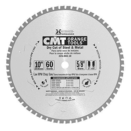 CMT 22606010 Industrial Dry Cut Steel Saw Blade 10-Inch x 60 Teeth 8° FWF Grind with 58-Inch Bore