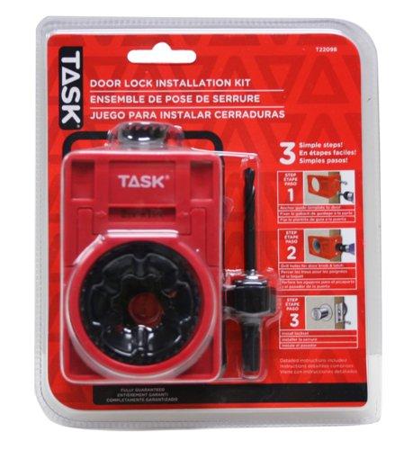 Task Tools T22089 MetalWood Door Lock Installation Kit with Bimetal Hole Saw Blades and Plastic Template