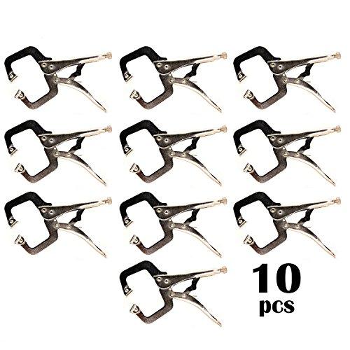 11R 10-pack 11-Inch SWIVEL PAD Locking C-Clamp