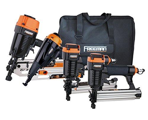 Freeman P4FRFNCB Pneumatic Framing Finishing Combo Kit with Canvas Bag 4Piece Nail Gun Set with Framing Nailer Finish Nailer Brad Nailer Narrow Crown Stapler
